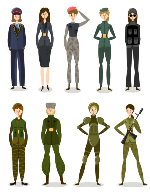 Set of women in military uniform working in police illustration Set of isolated hand drawn women in military uniform working in army and police over white background vector illustration. Elegant policewoman concept sergeant stock illustrations