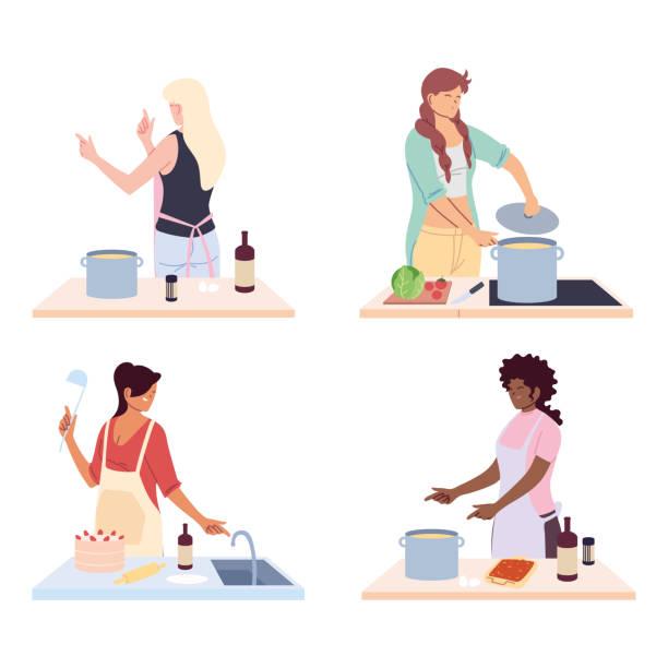 set of women preparing food on white background - busy restaurant kitchen stock illustrations