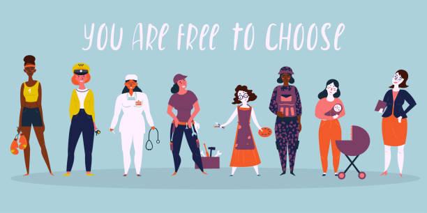 여성 전문직의 집합입니다. 선택할 수 있습니다. - 여성의 권리 stock illustrations