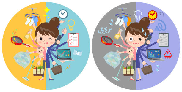 ilustrações de stock, clip art, desenhos animados e ícones de a set of women who perform multitasking in offices and private. there are things to do smoothly and a pattern that is in a panic. it's vector art so it's easy to edit. - fail cooking
