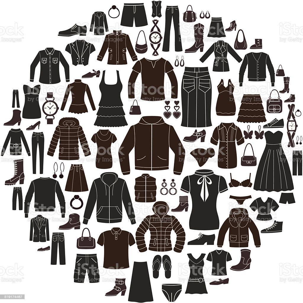 Set of Women's and Men's Clothing icons. Accessories. vector art illustration