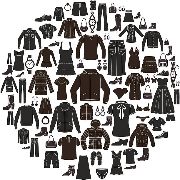 set of women's and men's clothing icons. accessories. - mens fashion stock illustrations, clip art, cartoons, & icons