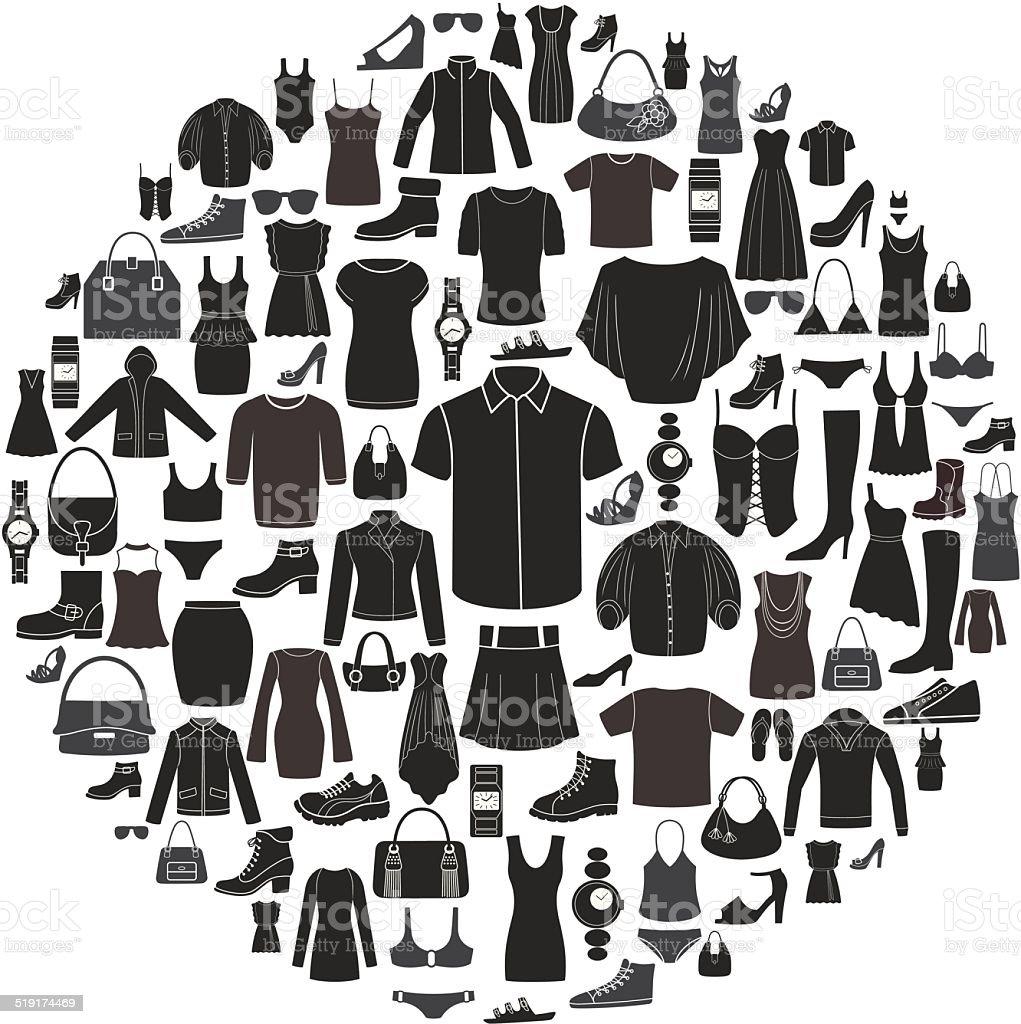 Satz von Damen und Herren Mode-Ikonen.  Accessoires. – Vektorgrafik