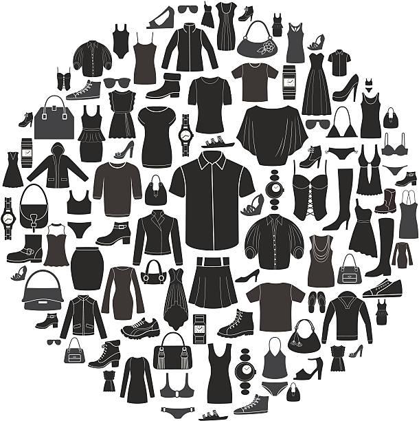satz von damen und herren mode-ikonen.  accessoires. - damenmode stock-grafiken, -clipart, -cartoons und -symbole