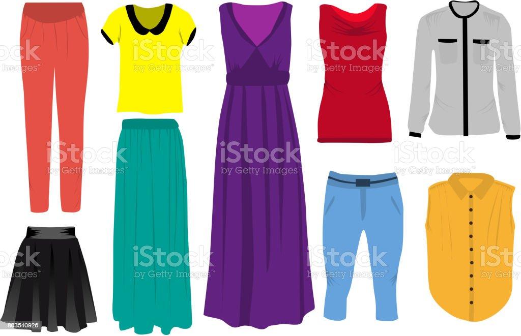 Conjunto de ropa de mujer. - ilustración de arte vectorial