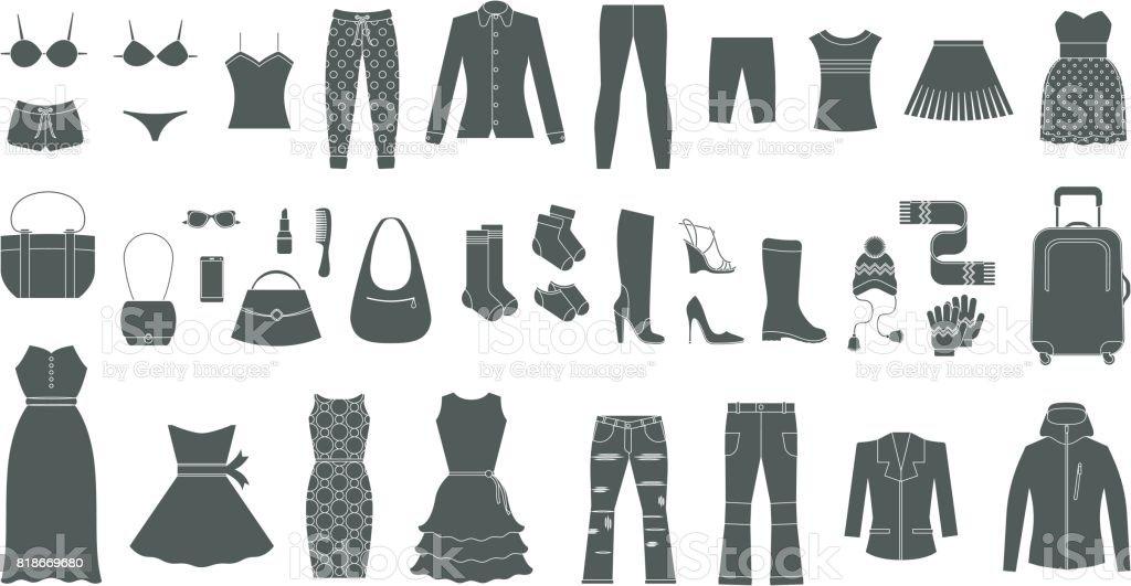 Satz von Damenbekleidung und Accessoires – Vektorgrafik