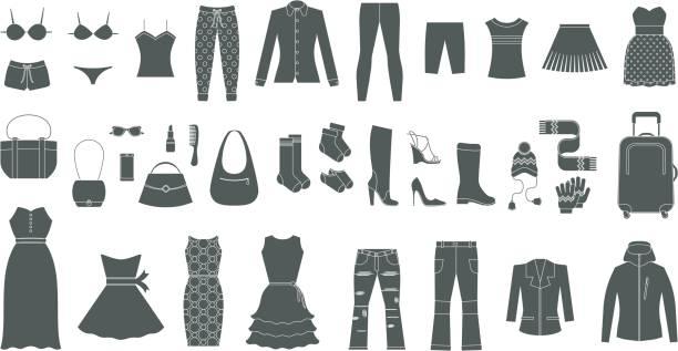 satz von damenbekleidung und accessoires - damenmode stock-grafiken, -clipart, -cartoons und -symbole