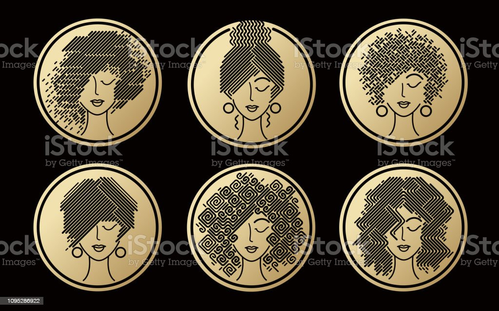 Set of women's hairstyles gold icons. vector art illustration