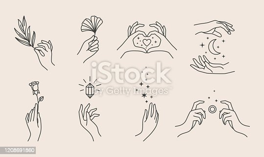istock A set of women's hand logos in a minimalistic linear style. Vector design templates or emblems in various gestures. 1208691860