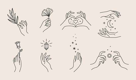 A set of women's hand logos in a minimalistic linear style. Vector design of sign templates or emblems in various gestures. For cosmetics, Studio, tattoo, Spa, manicure, beauty product packaging