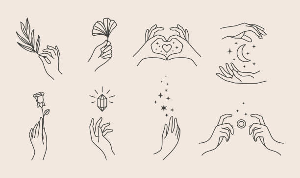 A set of women's hand logos in a minimalistic linear style. Vector design templates or emblems in various gestures. A set of women's hand logos in a minimalistic linear style. Vector design of sign templates or emblems in various gestures. For cosmetics, Studio, tattoo, Spa, manicure, beauty product packaging hand stock illustrations