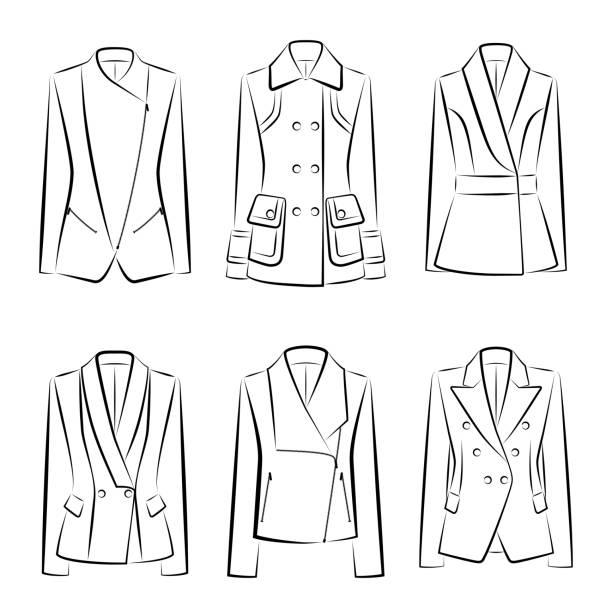 stockillustraties, clipart, cartoons en iconen met aantal vrouwen jassen - men blazer