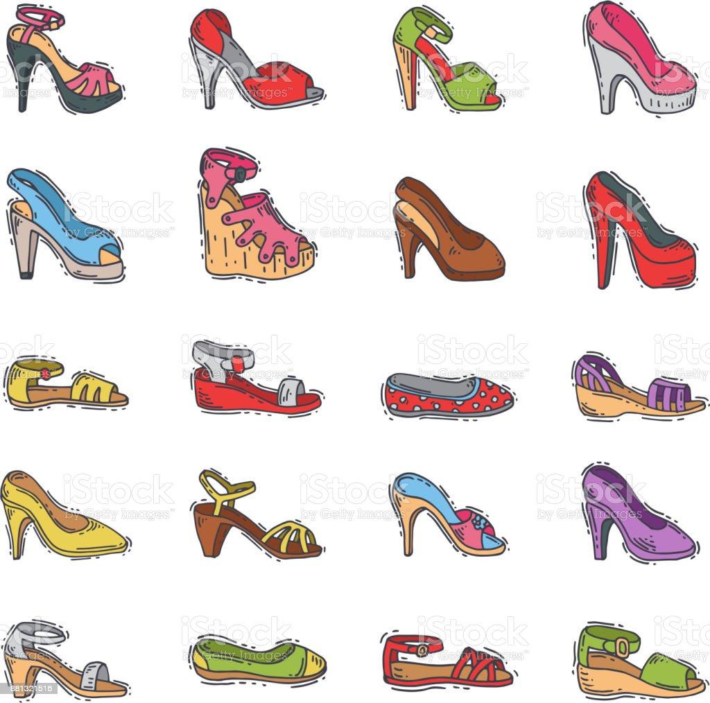 Womens Schoenen Mode Vector Hand Getrokken Ontwerpstijl Van