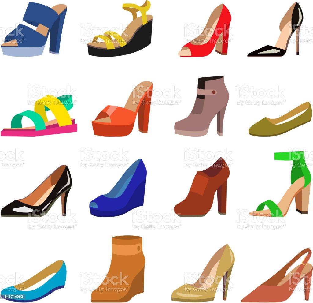 Satz von Womens Schuhe flache Design Vektor – Vektorgrafik