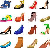 Set of womens shoes flat design vector
