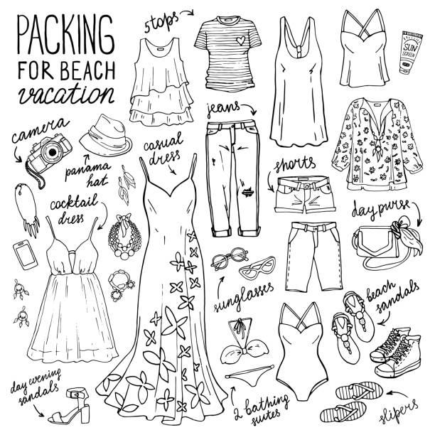 stockillustraties, clipart, cartoons en iconen met het aantal vrouwen zomer fashion collectie. - sandaal