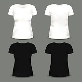 Set of women's white and black t-shirts in front and back views. Volumetric vector template. Realistic shirts mockup used for advertising labels, logo, emblem design or textile goods, for websites.