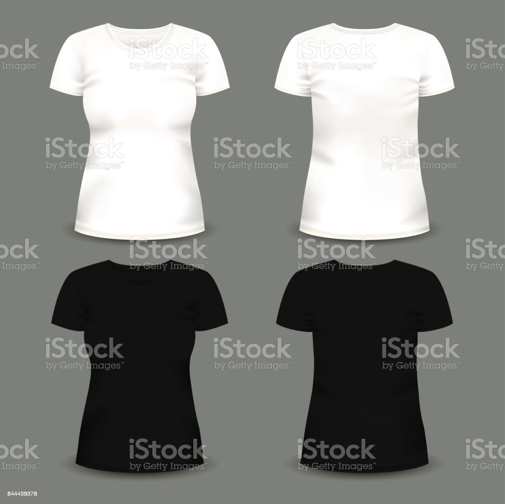 Set of women's white and black t-shirts in front and back views. vector art illustration