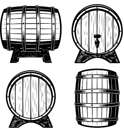Set of wood barrels illustration isolated on white background.