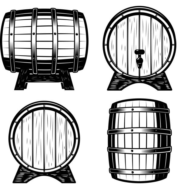 Set of wood barrels illustration isolated on white background. vector art illustration
