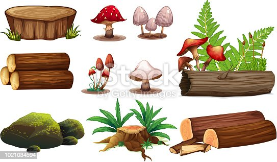 A set of wood element illustration