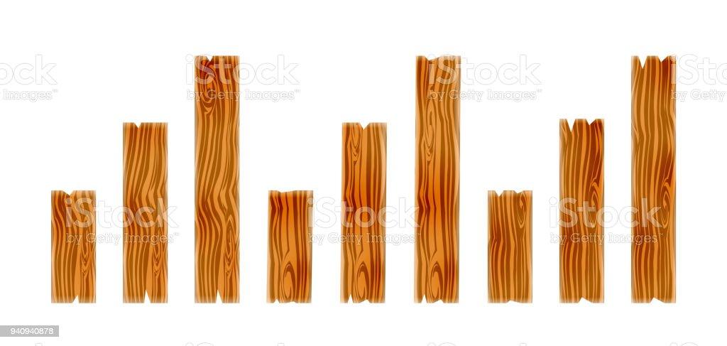 Set of wood planks. Wooden boadr elements. Vector Illustration. vector art illustration