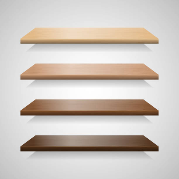Set Of Wood Shelves With Shadows Vector Art Illustration