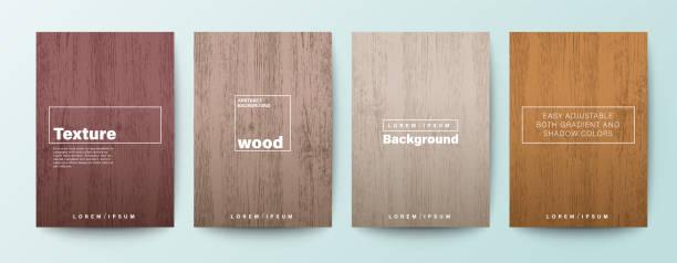 zestaw tła tekstury drewna. drewniane tło deski do broszury, ulotki, plakatu, ulotki, raportu rocznego, okładki książki, baneru, prezentacji, strony internetowej, aplikacji, tapety. - drewno tworzywo stock illustrations