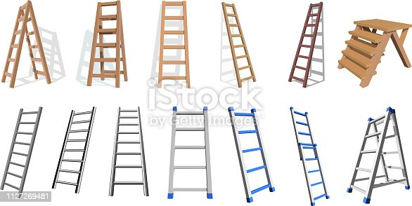 Set of wooden and metall stairs. Wooden, metall  staircase on a white background. Vector ladders illustratio
