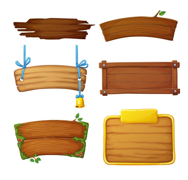 set of wooden banners with decorative elements. game dark and light sign boards isolated on white background. cartoon vector illustration - transparent stock illustrations