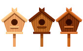 Set of wooden bird house. Nesting box from different types of wood. Flat vector illustration isolated on white background.