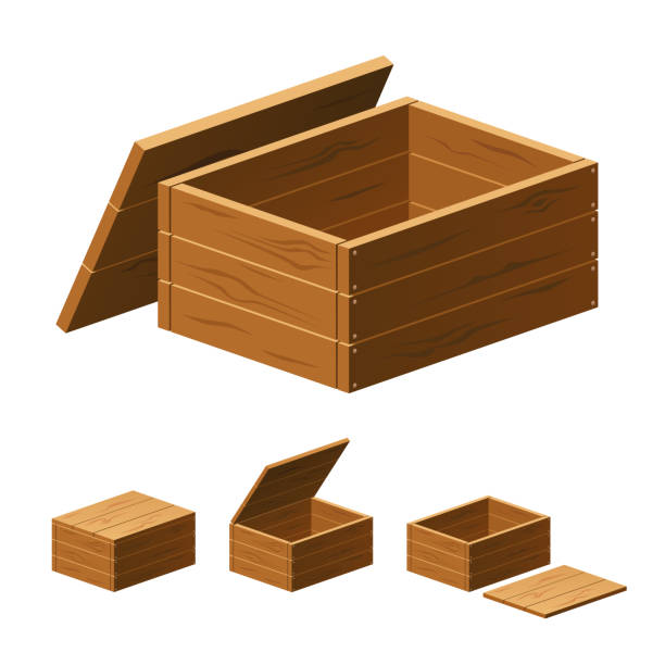 A set of wooden boxes with lids isolated on white background. Vector cartoon close-up illustration. vector art illustration