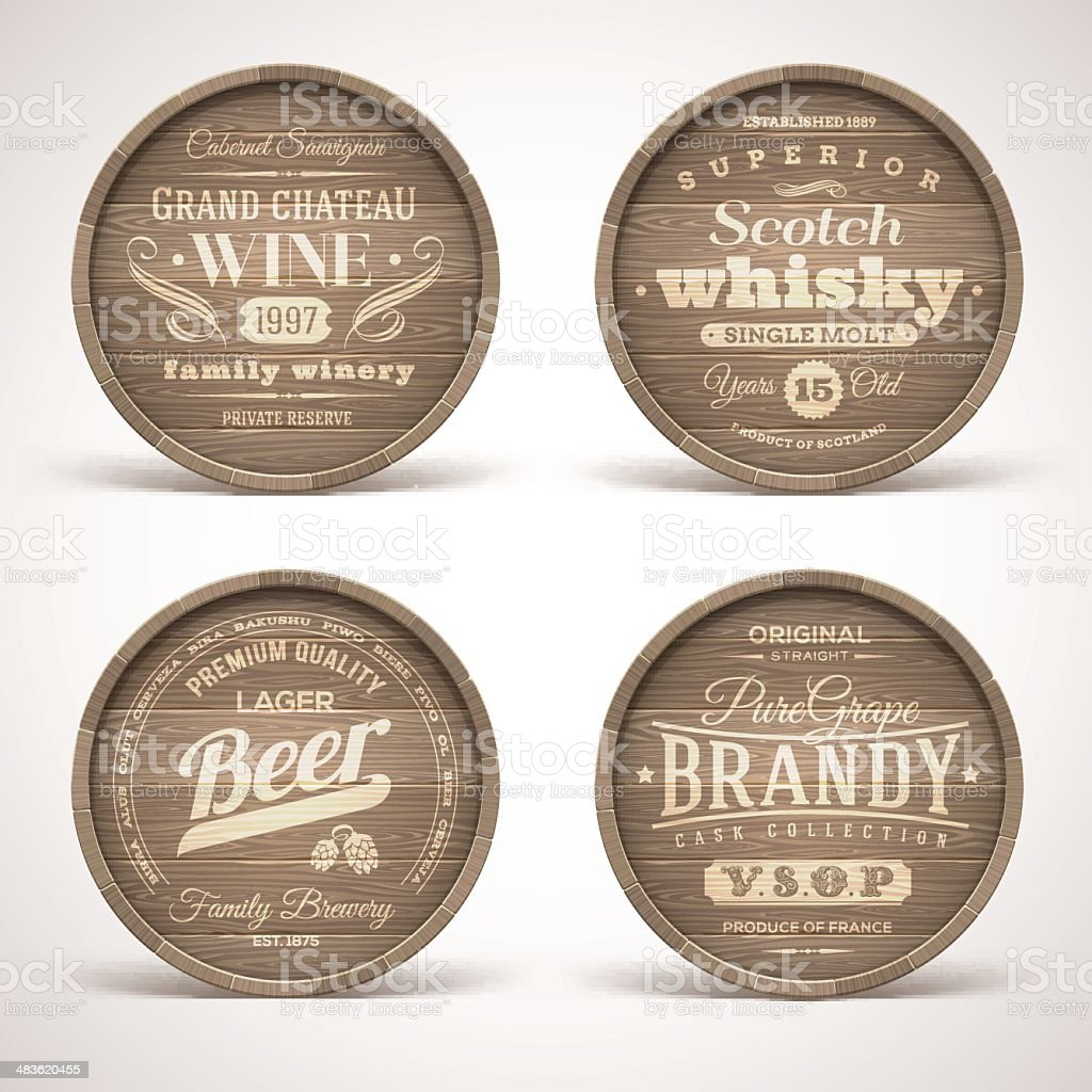 Set of wooden casks with alcohol drinks emblems royalty-free stock vector art