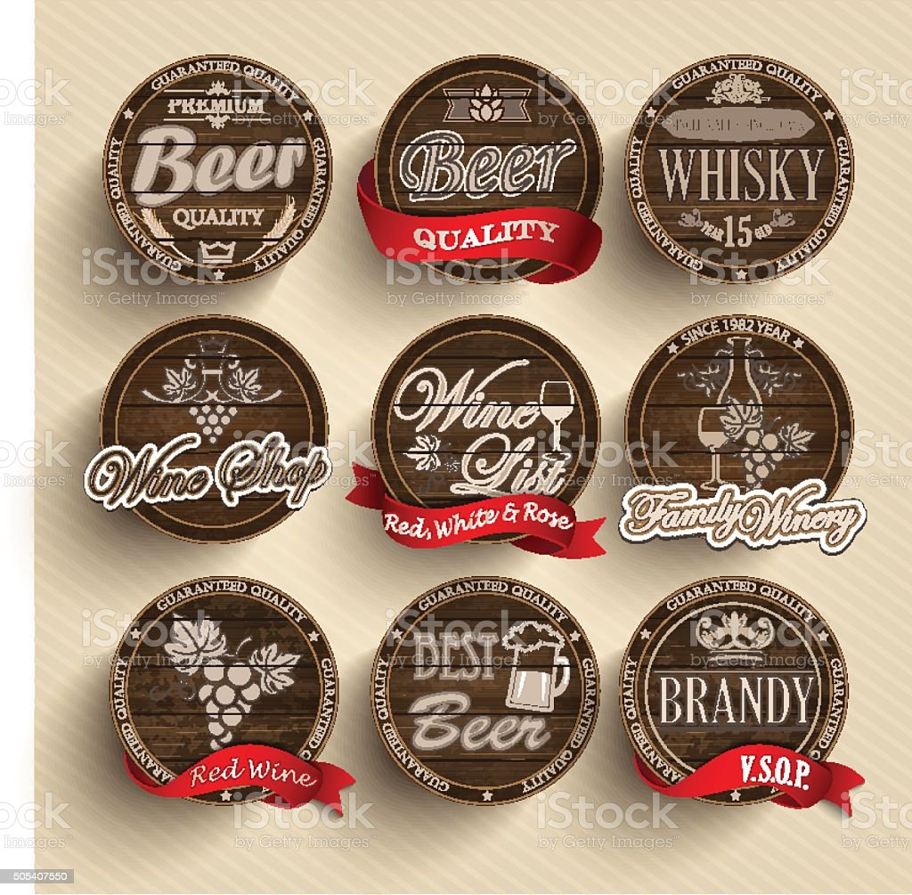 Set of wooden casks with alcohol drinks emblems. vector art illustration