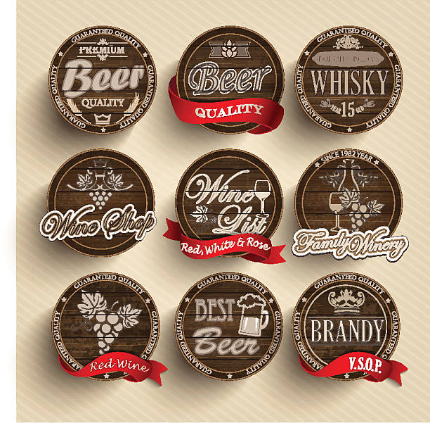 Set of wooden casks with alcohol drinks emblems. vector art illustration