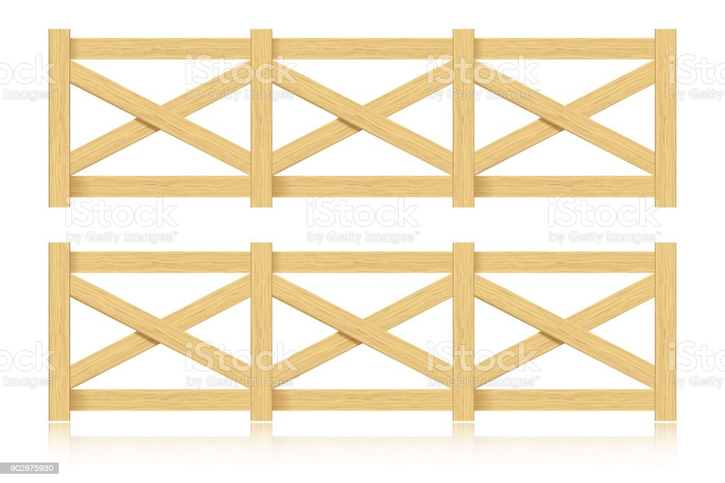 A set of wooden fence. Isolated. Vector illustration. vector art illustration