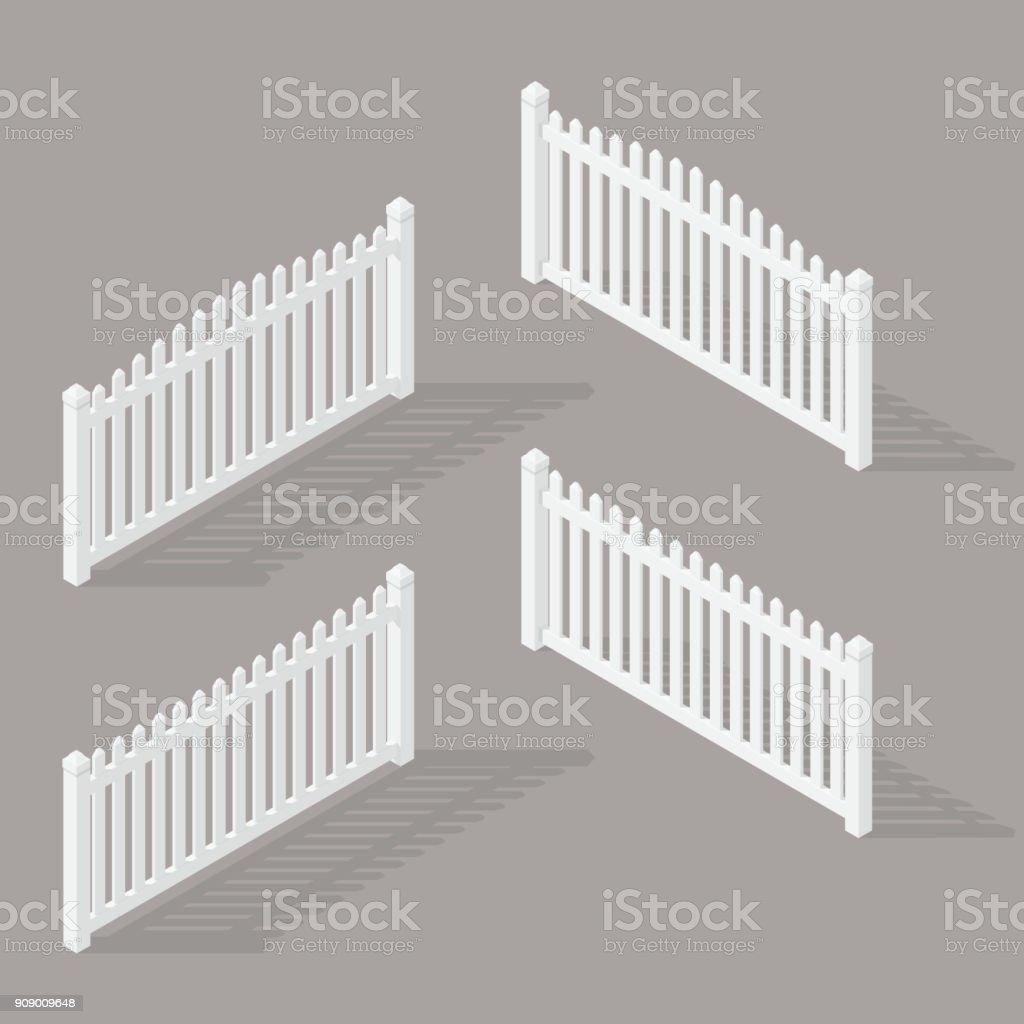 set of wooden fence vector art illustration
