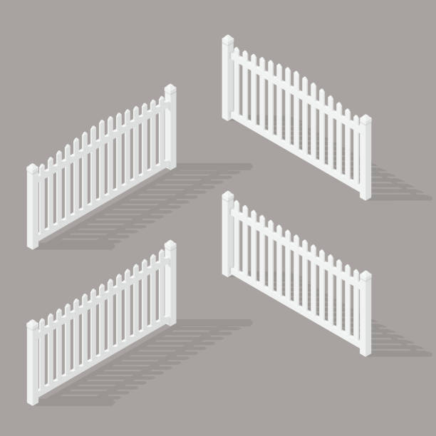 set of wooden fence A set of isometric spans wooden fence of various shapes. Isolated on white background. Elements of buildings and landscape design, vector illustration. urban gardening stock illustrations