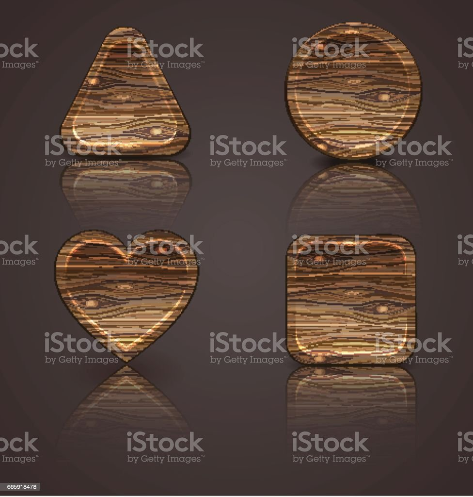 set of wooden icons, wood figurines set of wooden icons wood figurines - immagini vettoriali stock e altre immagini di albero royalty-free