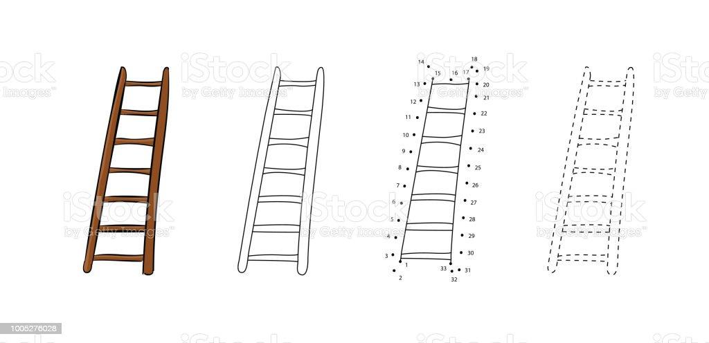 Ahsap Merdivenler Bir Dizi Cizim Cocuklar Icin Vektor Cizimleri
