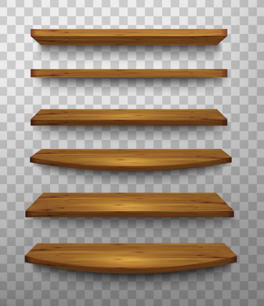 illustrazioni stock, clip art, cartoni animati e icone di tendenza di gruppo di mensole in legno su uno sfondo trasparente. vettoriale. - tavolo legno