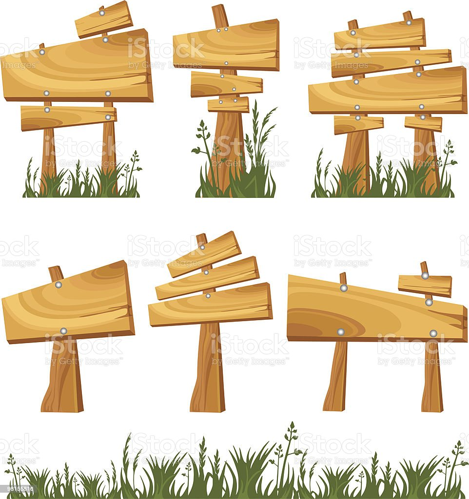 Set of wooden sign royalty-free set of wooden sign stock vector art & more images of blank