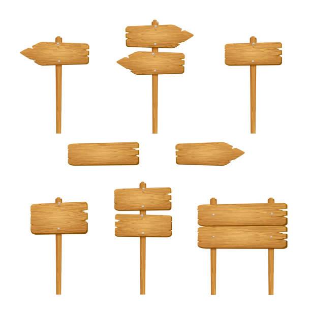 ilustraciones, imágenes clip art, dibujos animados e iconos de stock de conjunto de signos de madera sobre fondo blanco - señal