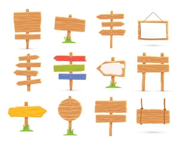 satz von holztafeln und wegweiser - nagelplatte stock-grafiken, -clipart, -cartoons und -symbole