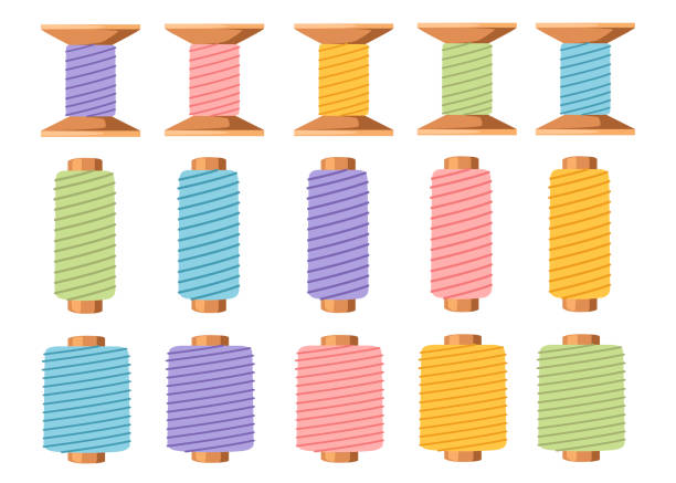 illustrazioni stock, clip art, cartoni animati e icone di tendenza di set of wooden thread spools. equipment for sewing and tailoring. accessory for needlework. flat vector illustration isolated on white background - tailor working