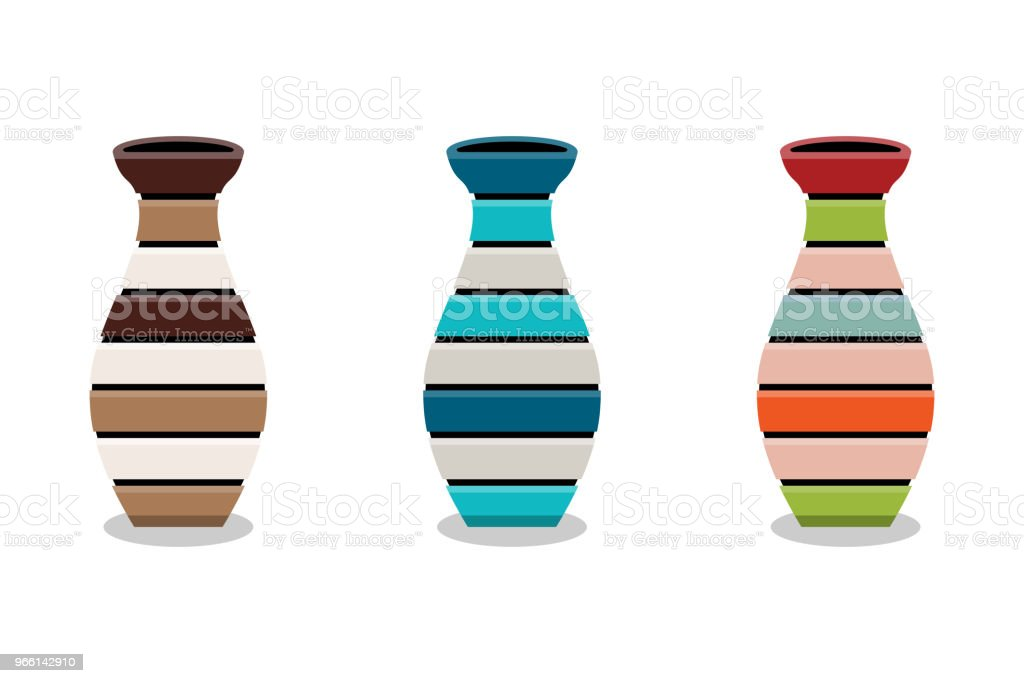 Set of wooden vase or basket isolated on white background, vector illustration - Векторная графика Абстрактный роялти-фри