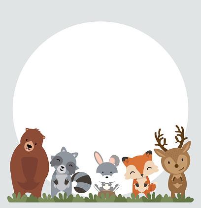 Set of woodland animals background eps10