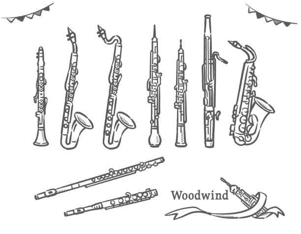 stockillustraties, clipart, cartoons en iconen met set van houtblazers. - klarinet