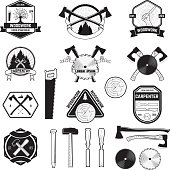 Carpentary and woodwork emblems. Set of logo, labels, badges and logotype elements for sawmill, carpentry and woodworkers