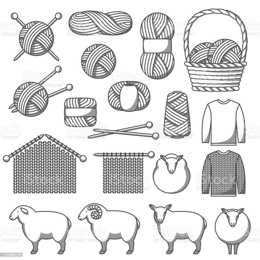 Set of wool items. Goods for hand made, knitting or tailor shop vector art illustration